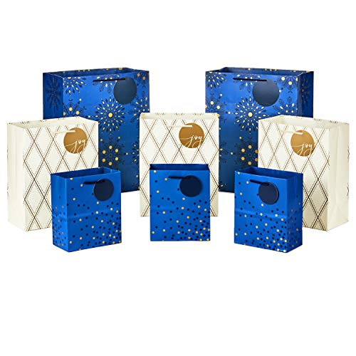 Hallmark Holiday Gift Bags Assorted Sizes (8 Bags: 3 Small 6', 3 Medium 9', 2 Large 13') Navy Blue and Gold Dots, Diamonds and Starry Snowflakes for Christmas, Hanukkah, Weddings, Graduations and More