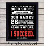 Michael Jordan Basketball Quote - Wall Art Print - Perfect for Office & Home Decor - A Great Affordable Gift - Inspirational and Motivational - Ready to Frame Photo (8X10) - That is Why I Succeed