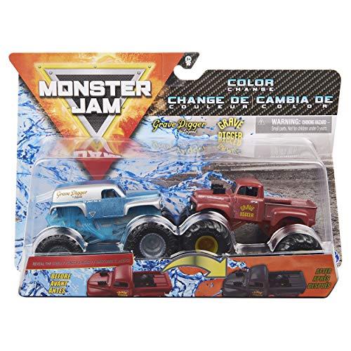Monster Jam 2020 Color Change 1:64 Scale 2-Pack Grave Digger The Legend vs. '82 'Red Primer' Grave Digger