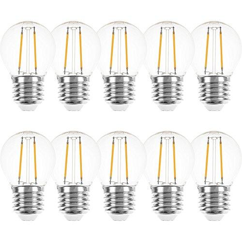 LED Filament Tropfen Glühbirne 2W = 25W E27 klar Glühlampe 250lm Glühfaden Warmweiß (10 Stück)