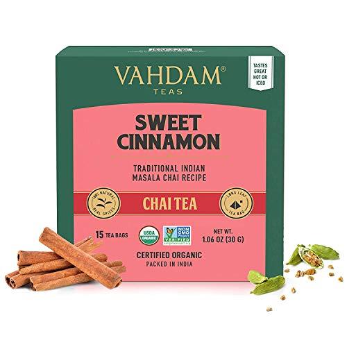 Vahdam, Hot cannella tè / 30 bustine di tè / 100% spezie naturali / antica cannella Masala Chai tè ricetta / speziato Chai bustina di tè / Brew come tè caldo o tè freddo / Chai bustina di tè