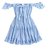 ZAFUL Women's Off Shoulder Short Sleeve Bowknot Ruffle Party Beach Mini Dress (Light Blue, M)