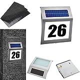 LZQ LED Solarhausnummer Edelstahl beleuchtet transparent, 2 LED mit Dämmerungsschalter und amorphem Silizium- Solar-Panel Solarleuchte Solar Hausnummer Außenwandleuchte Hausnummernleuchte Wandleuchte