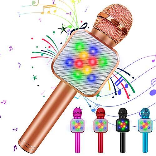 Bluetooth Karaoke Mikrofon, 5 in 1 Drahtloser Mikrofon für kinder, Kinder Mikrofon mit LED-Leuchten | einstellbarem Remix |FM-Radio, tragbares Mikrofonspielzeug für IOS/Android/PC/Smartphone(Roségold)