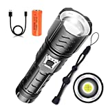 Lampe Torche LED Puissante 7000 Lumens, Torche Rechargeable Super Brillante avec XHP90 LED, 5 Modes, Lampe de Poche Étanche pour Camping, Randonnée, D'urgence (Batterie Incluse)