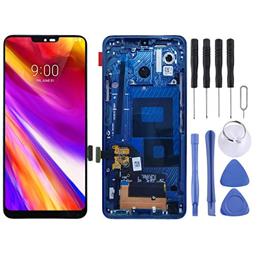 QICHENGBIN Ersatz-LCD-Bildschirm LCD-Bildschirm und Digitizer Vollversammlung mit Rahmen, for LG G7 ThinQ / G710 G710EM G710PM G710VMP (Color : Blue)