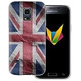 dessana England transparente Silikon TPU Schutzhülle 0,7mm dünne Handy Soft Case für Samsung Galaxy S5 Mini England Fahne