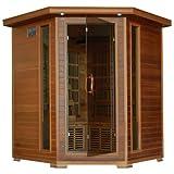 Radiant Saunas BSA1320 4 Person Cedar Corner Infrared Sauna,...