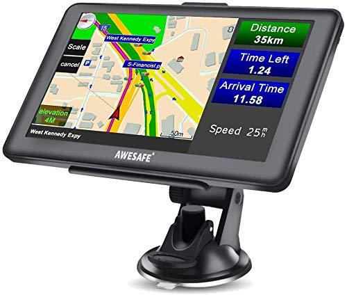 AWESAFE Sat Nav, 7 inch Truck Satnav 2021 Europe UK Ireland Maps GPS Navigation for Car Truck Lorry HGV Caravan Motorhome, Sat Navs for Cars UK Postcodes, Speed Camera Alerts & POI Lane Assist