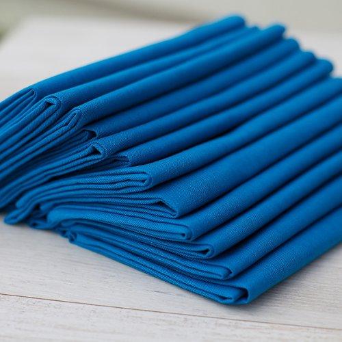 LinenMe Serviettes de Table, 49x49 cm, Coton et Lin, Collection Paula Piscine, Set de 12