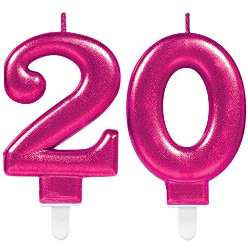 Carpeta Lot de 2 bougies numérotées « numéro 20 », rose, 11 x 9 cm - décoration pour anniversaire de 20 ans, Bougie d'anniversaire