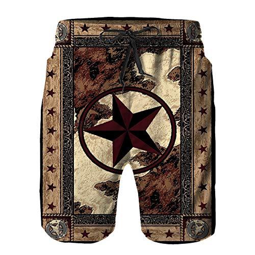 Hombres Verano Secado rápido Pantalones Cortos Playa Western Texas Star Estrellas de Estilo Vintage sobre Panel de Madera Estampado rústico Trajes de baño Correr Surf Deportes-L