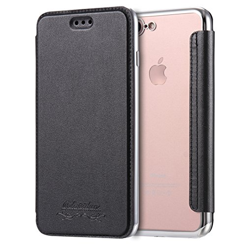 Sweau Coque Cuir iPhone 7, Etui iPhone 8, Housse Etui en Cuir Flip Case avec Fentes de Carte Ultra Mince Premium Flip Housse Coque Anti-Choc TPU Silicone Etui pour iPhone 7/8