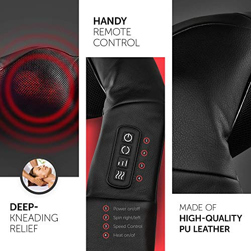 Dr. Anna Luxury Shiatsu Neck Shoulder & Back Massager with Heat For Back Pain Relief - Portable 3D Rotation Kneading Massage Pillow - Back Massager Belt - Full Body Massager