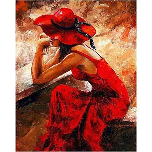 Iejsgfj DIY ölgemälde Malen nach Zahlen Roter Hut rotes Kleid Mädchen Malen nach Zahlen Kits DIY Gemälde durch Geschenk für Erwachsene Kinder Vorgedruckt Leinwand Home Haus Dekor