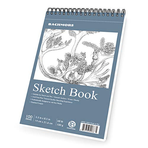 Bachmore Sketchpad 5.5X8.5 Inch (68lb/100g), 100 Sheets of Spiral Bound Sketch Book for Artist Pro & Amateurs | Marker Art, Colored Pencil, Charcoal for Sketching