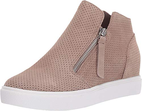Steve Madden Women's Caliber Wedge Sneaker, Taupe Suede, 8 M US