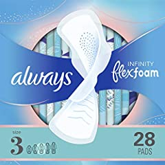 Our most absorbent thin pad, absorbs 10X its weight Ultra-light and form-fitting FlexFoam material molds to your body, so you'll barely feel it 35% better coverage (Vs. Always Infinity Regular With Wings) Now Always MY FIT helps you get the best prot...