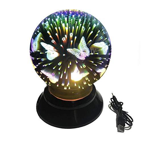 3D Tischlampe,SUAVER Automatischer Rotary Ball Lampe Kreative Nachtlicht,Dekorative Glas lampe Schreibtischlampen Stimmungslichter Party Lampe Geschenk Home Decoration Lampen (Schmetterling)