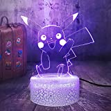 Pikachu Pokemon Go USB 3D LED Luz nocturna Lámpara de mesa USB Regalo de cumpleaños para niños Decoración de la habitación