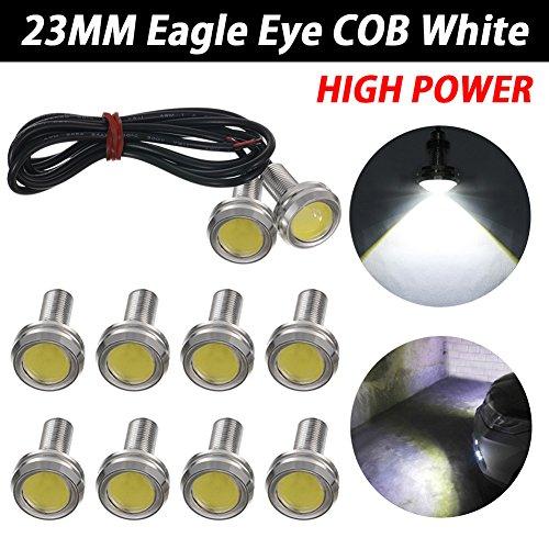 TABEN Lot de 10 ampoules LED blanches 23 mm Eagle Eye pour voiture - Haute puissance - 9 W - Pour feux de circulation diurnes - Pour feux de stationnement - DC 12 V