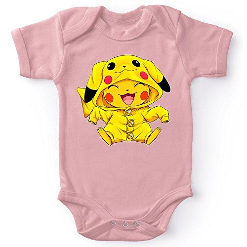 OKIWOKI Pokémon Lustiges Pink Baby Strampler (Mädchen) - Pikachu - Ultimate Cosplay (Pokémon Parodie) (Ref:880)