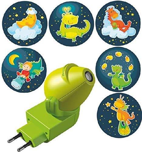 Haba 301993 - Steckdosenlicht Gute-Nacht-Drachen, LED-Nachtlicht für Babys und Kleinkinder, Schlummerlicht mit 6 bunten Motiven zum Wechseln, 360° drehbar