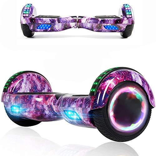 Magic Vida Skateboard Elettrico 6.5 Pollici Bluetooth Power 700W con Due Barre LED Monopattini elettrici autobilanciati di buona qualità per Bambini e Adulti(Viola Cielo)