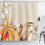 ABAKUHAUS Romantisch Duschvorhang, Muscheln Seestern, mit 12 Ringe Set Wasserdicht Stielvoll Modern Farbfest & Schimmel Resistent, 175x180 cm, Beige Creme Elfenbein