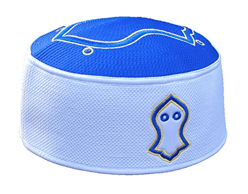 TheKufi Exclusive Royal Blue White Golden Embroidered Sandal Kufi Crown Cap (M -22.5')