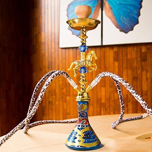 MAIAOXI Arab Shisha Pipe Bar Zubehör 4 Schlauch Party Smoking Set Oriental Dekorative Shisha Mit Led Geeignet Für Bars, Clubs Und Nachtmärkte ,Kein Nikotin Hohe Qualität Glasvase