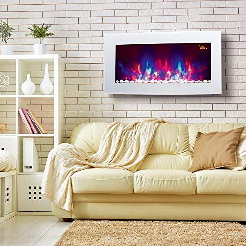 TruFlame Wall Mounted Arched White Glass Electric Fire with Pebble Effect and 7 Colour Side LEDs