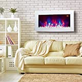 TruFlame 2021 7 colour Side LEDs Wall Mounted Arched White Glass Electric Fire with Pebble Effect (88cm wide)