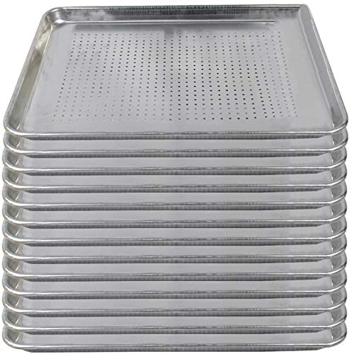Tiger Chef Full Size 18 x 26 inch Perforated Aluminum Sheet Pan Commercial Bakery Equipment Cake Pans NSF Approved 19 Gauge 12 Pack