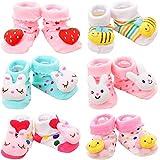 Adorel Calcetines Antideslizantes con Muñecos para Bebé Niñas Paquete de 6 Rosa 4-12 Meses