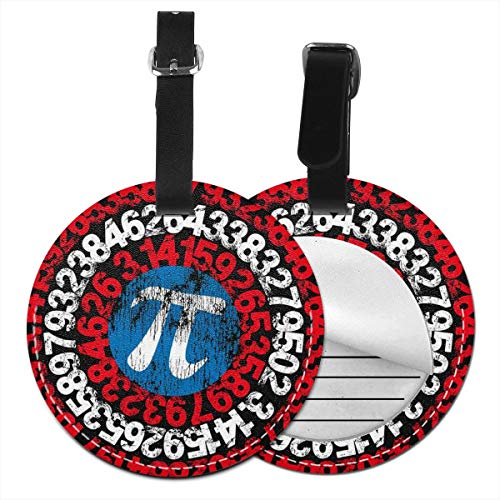 Pi Geek Math Nerd Round Luggage Tags Leather Baggage Travel ID Labels