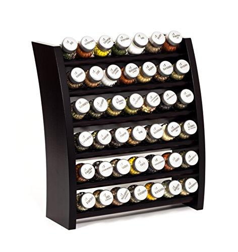 GALDBIS Gewürzregal, Küchenregal aus Holz für Gewürze und Kräuter, 42 Gläser, Gald – 42F-7x6 venge matt