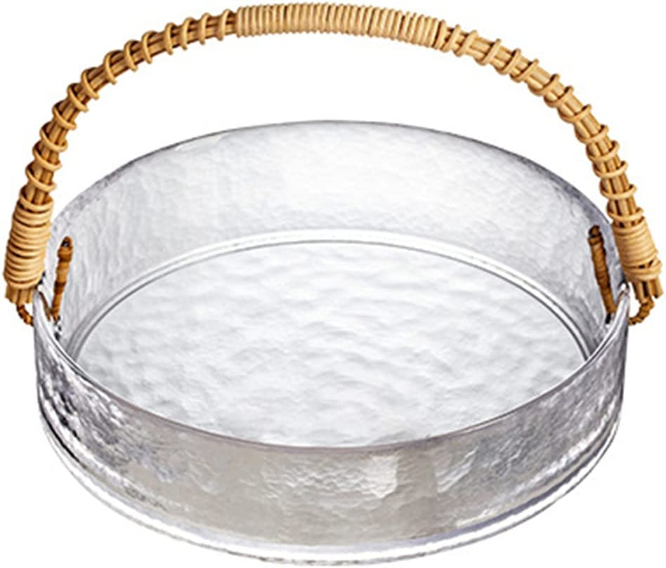 High quality Glass Ice Bucket with Max 64% OFF Rattan Handle F Candy Basket Snack Storage