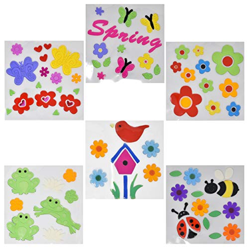 Gift Boutique Spring or Summer Window Gel Clings 6 Pack Stickers for Kids, Toddlers Window Gels Reusable Decoration Supplies Butterfly, Flowers, Sunflower, Beach Nature Plastic Jelly Removable Clings