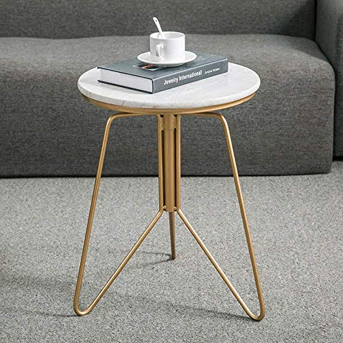 Home&Selected salontafel, marmer, bijzettafel, in hoogte verstelbaar, binnen en buiten, 39 x 52 – 68 cm (kleur: A) B
