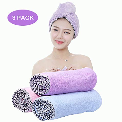 ANDSTON Microfiber Hair Towel Wrap for Women, 3 Pack 10 inch X 26 inch, Super Absorbent Quick Dry Hair Turban for Drying Curly, Dry Hair Hat, Bath Hair Cap (Color 1)