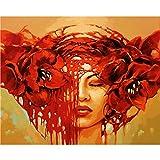 Pintar por Numeros para Adultos NiñosKit de pintura al óleodecoración del hogar 40,6 x 50,8 cm sin marco Maquillaje rojo sangre