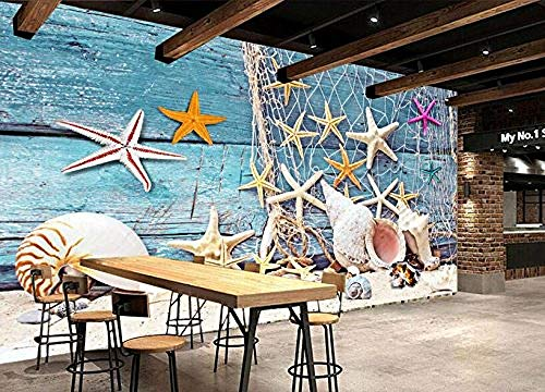 FSKJBZ Custom 3D Wallpaper Azul Mediterráneo Estilo Red de pesca Barco de pesca Concha Decoración Sala de estar TV Fondo Mural Foto @ 200cmx140cm