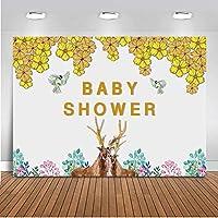 バナースタジオの装飾 ベビーシャワーテーマパーティー シームレスな写真の小道具 黄色の葉鳥飛ぶ動物鹿色の花 折りたたみ可能なビニールビデオ 現代の