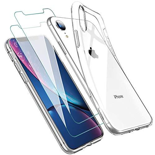 Zsmzzd Funda para iPhone XR + 2 Pcs Protector de Pantalla para iPhone XR Vidrio Templado, Suave Antigolpes TPU Silicona Transparente Carcasa + Cristal Templado para iPhone XR