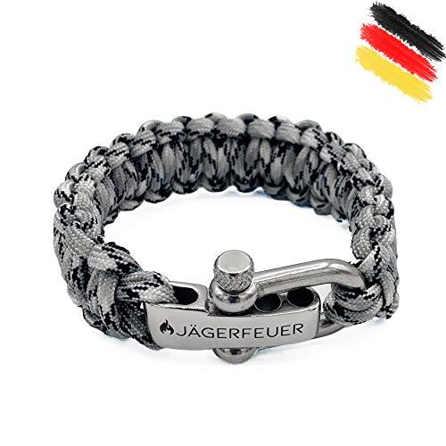 Jägerfeuer Paracord Survival Armband für Herren/Damen mit einstellbarem Edelstahl Verschluss (Urban Camouflage)