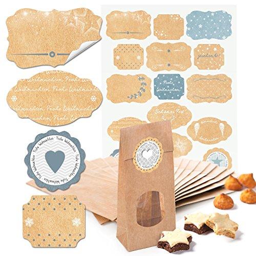 10 kleine braune Kekstüten MIT FENSTER Pralinentüten Gebäcktüten Papiertüten mit Boden (7 x 4 x 20,5 cm) + 17 beige hell-blau graue Weihnachts-Etiketten Geschenk-Aufkleber von 4 bis 6,5 cm (14132)