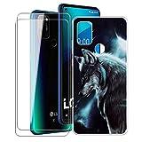 KJYF para LG W41 Pro Fundas + 2 Piezas Cristal Templado, Transparente Case Anti-Arañazos Silicona TPU Caso Cover y Protector Vidrio Pantalla para LG W41 Pro (6.55') - WMA16