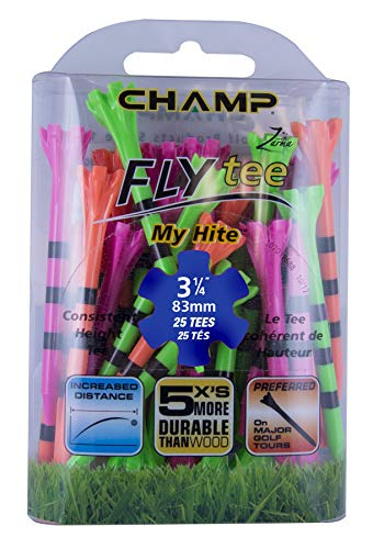 Champ 86513 Zarma Flytee My Hite 3-1/4' 25 Count Citrus Mix with Black Stripes Golf Tees