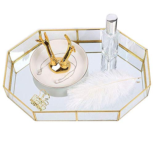 Decorative Metal Mirror Catchall Tray, polygon Glass Vanity Tray, Big Dresser Tray, Jewelry Display Tray, Vanity Organizer for Accent Table, Gold Leaf Finish, 12.4x8.5x2 inches (Large polygon)